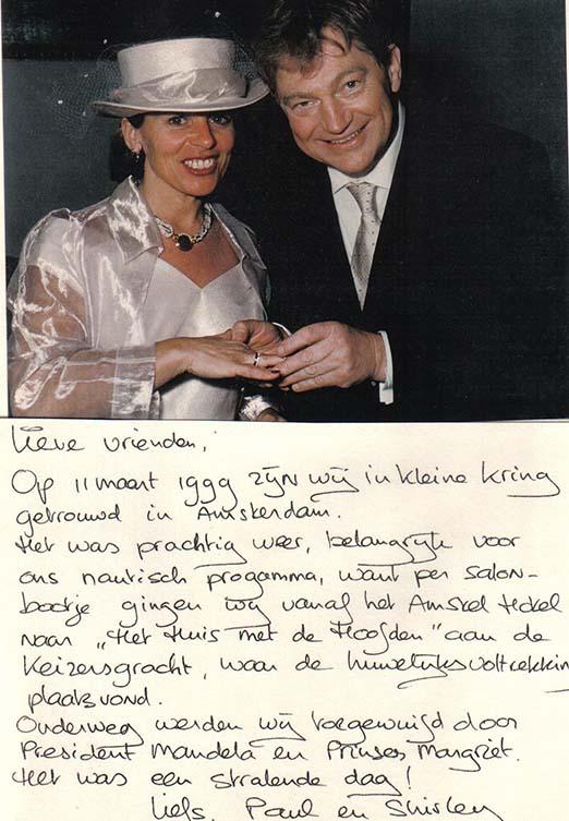 Bruid van Paul Fagel naar Amstelhotel toegewuifd door Nelson Mandela en Prinses Margriet