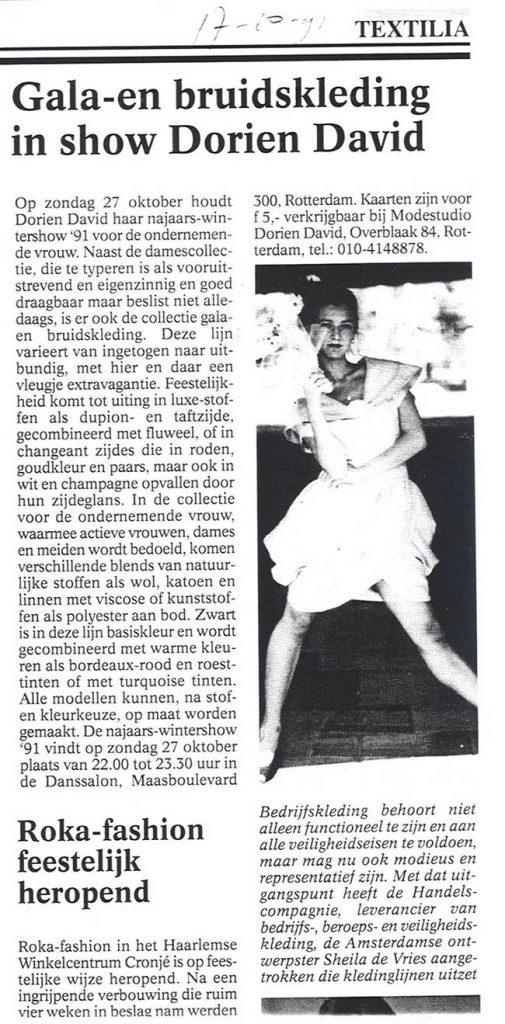 Gala- en bruidskleding in show DORIENDAVID, Textilia magazine