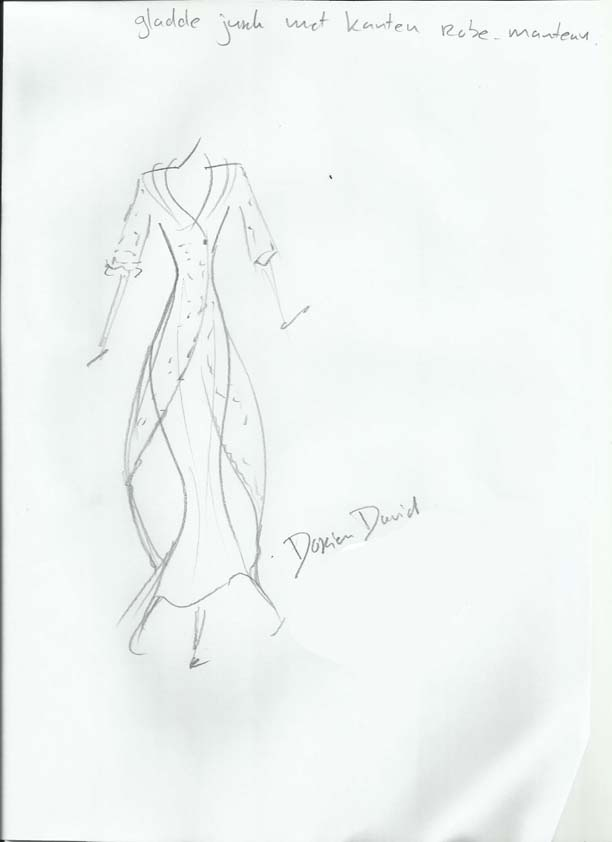 Tekening Dorien long dress with lace coat