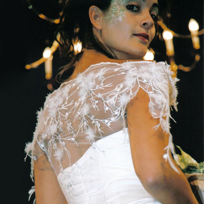Detail of bridesdress with lace