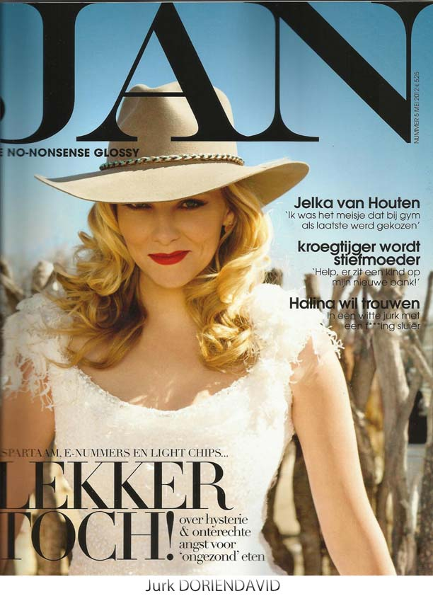 Jelka van Houten on cover of JAN magazine in DORIENDAVID jurkje