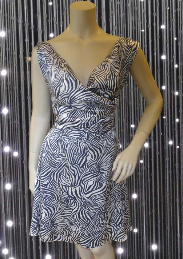 Dress with dark blue print