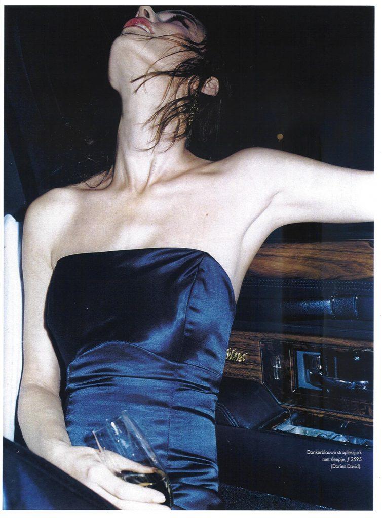 Strapless zijden feestjurkje voor 'Elle' magazine