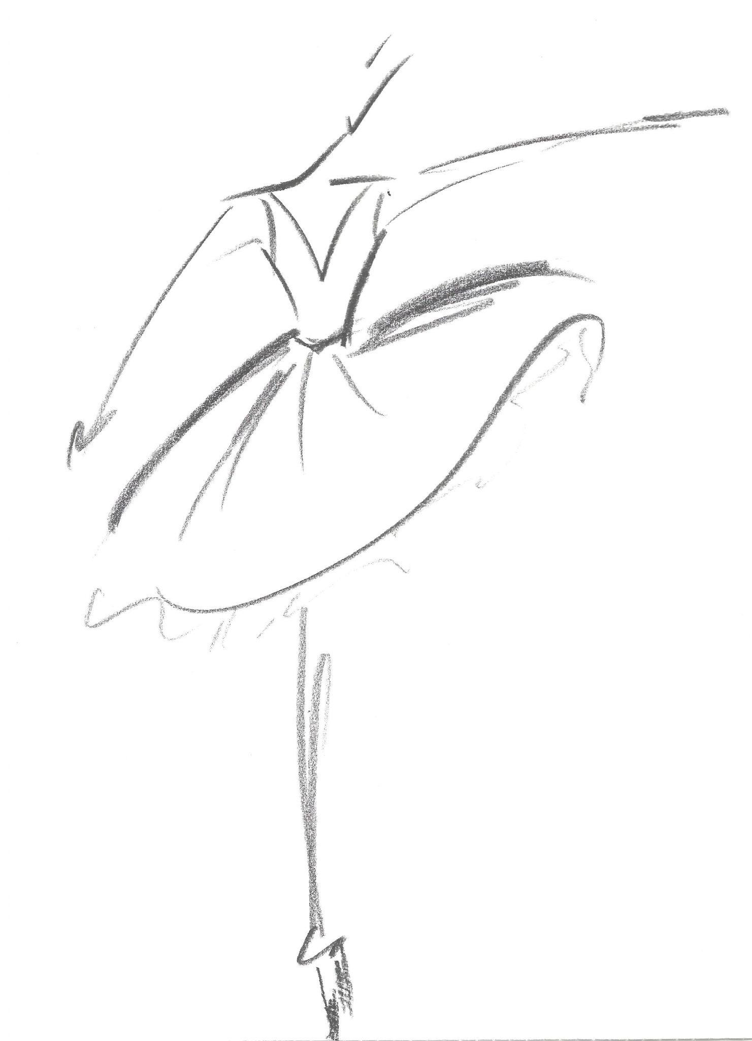 Schets Dorien wijde jurk met v-hals