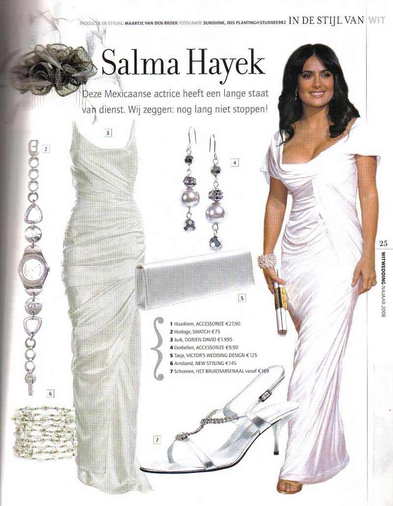 Salma Hayek dress by DORIENDAVID in Wit wedding magazine