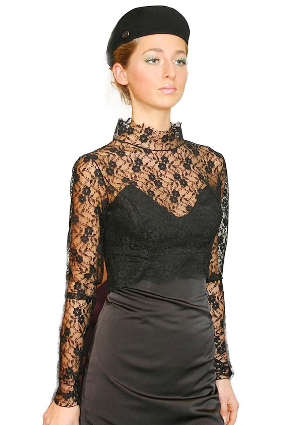 Black strapless dress with black lace top
