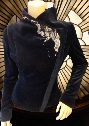 Blue velvet jacket with couture lace