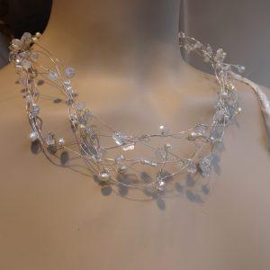 collier parels, bergkristal