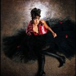 Zijden top, model Gala met zwarte tule wijde rok