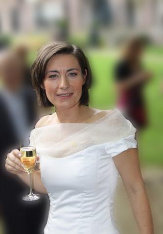 Bruids top van zijden organza en satin duchesse