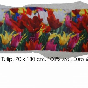 Tulip painting on scarf