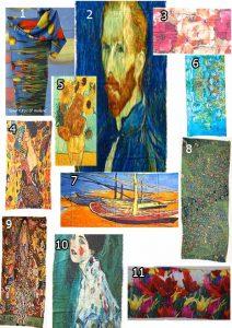 Diverse creatieve, artistieke sjaals