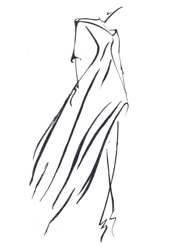 Scatch Dorien of long dress with sleeves