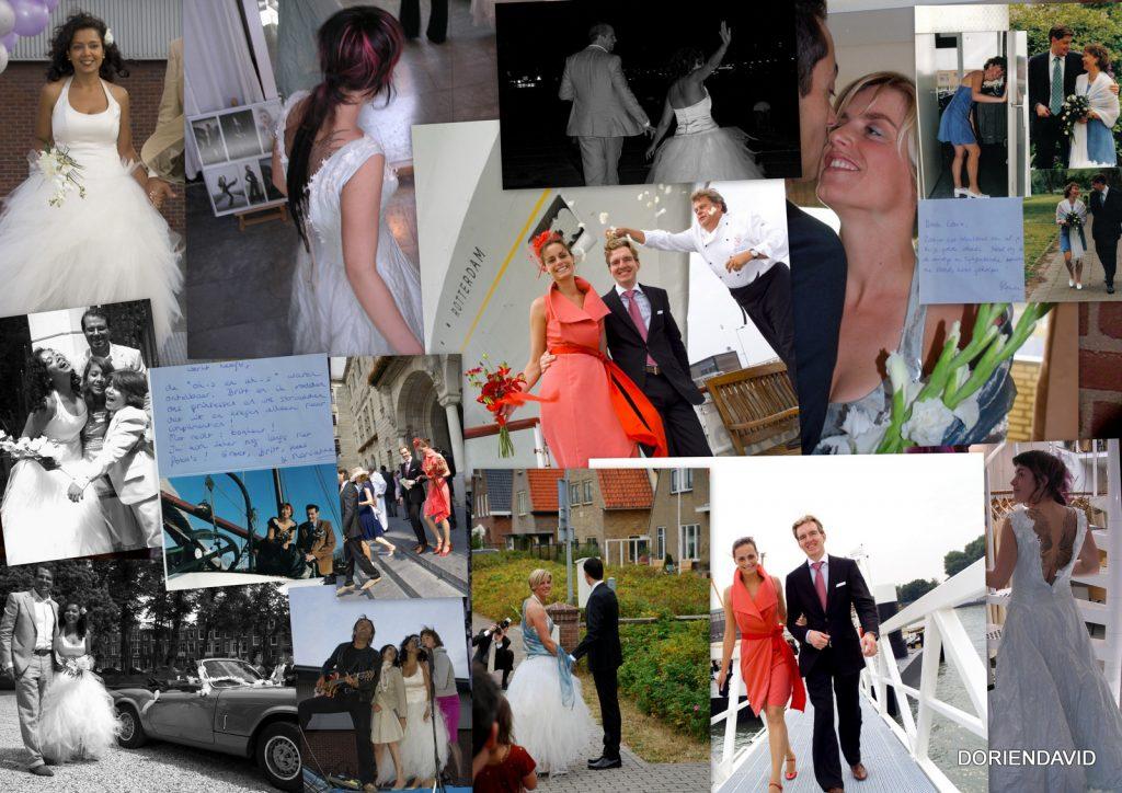 Collage van bruiden o.a. bij de ss Rotterdam