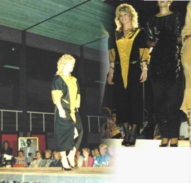 Zwart/gele jurk in modeshow boetiek Modern Uithoorn