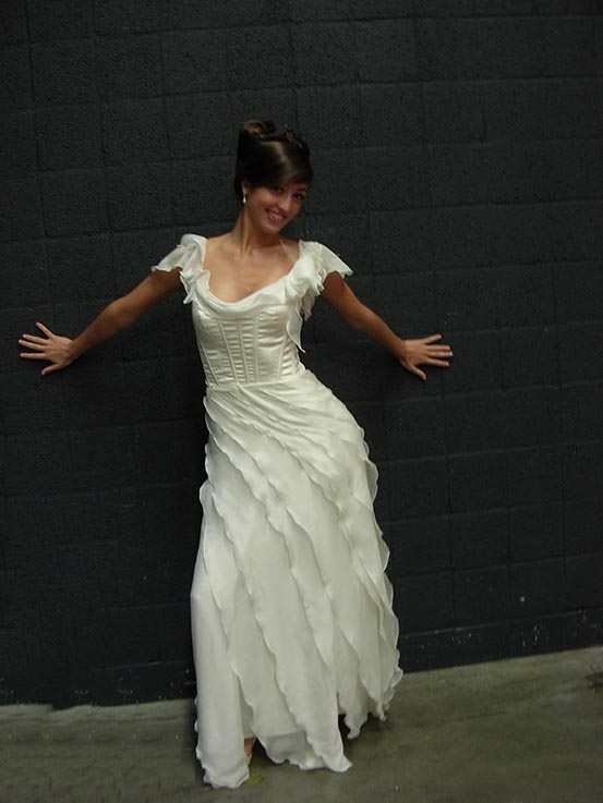 Long urban gypsy bridal dress with corset top