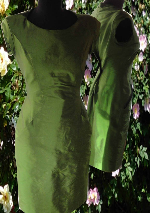 Gaga dress green silk