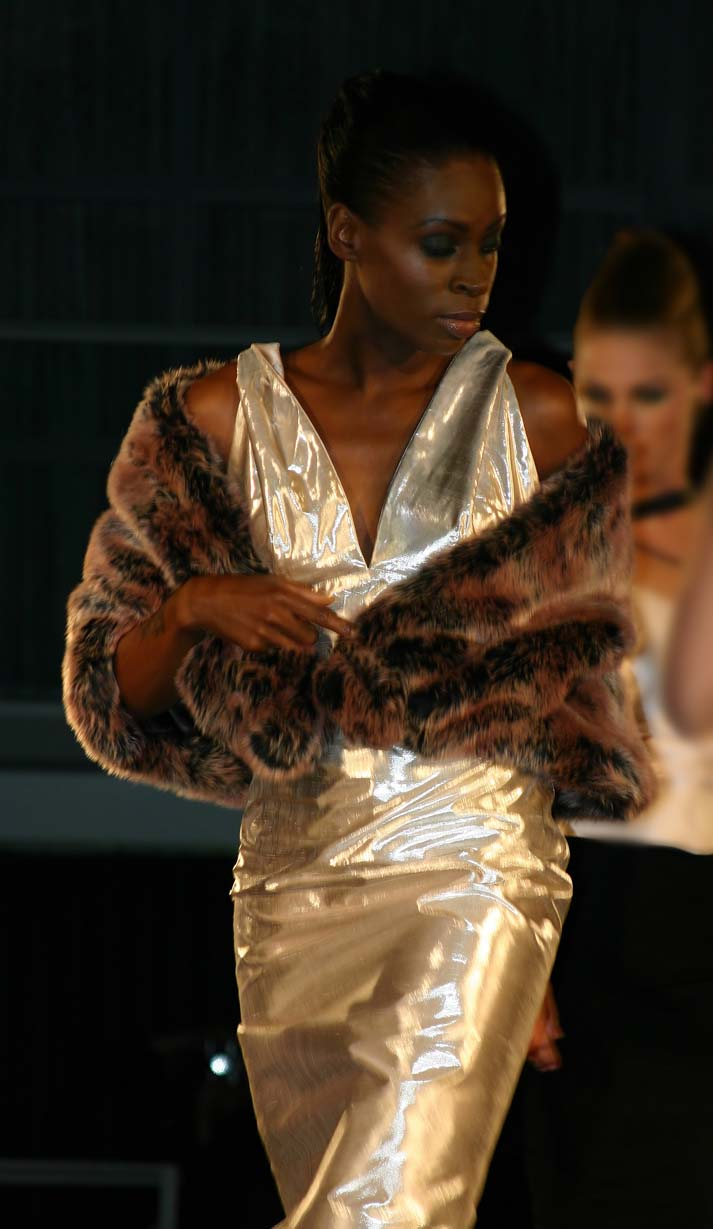 Dress of silver silk 'Turner' with stole