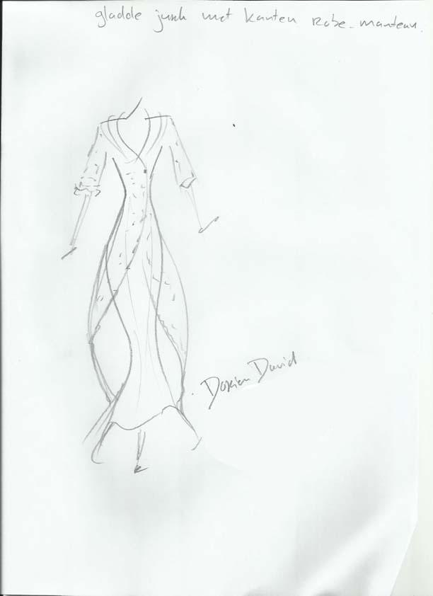Tekening Dorien long dress with lace coat