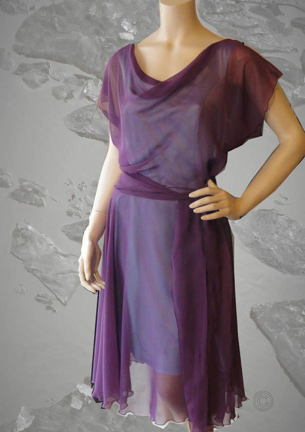 Dress zijden voile bordeaux