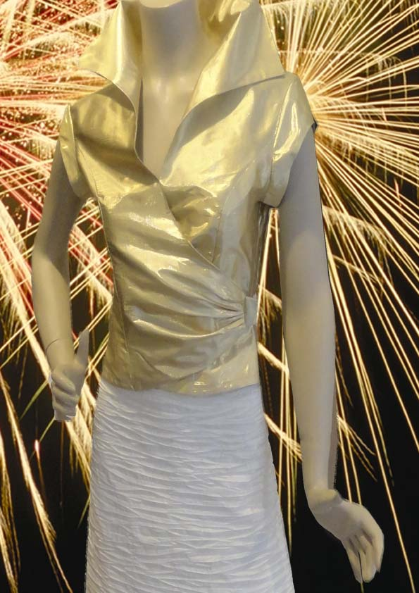 Golden top of metallic silk