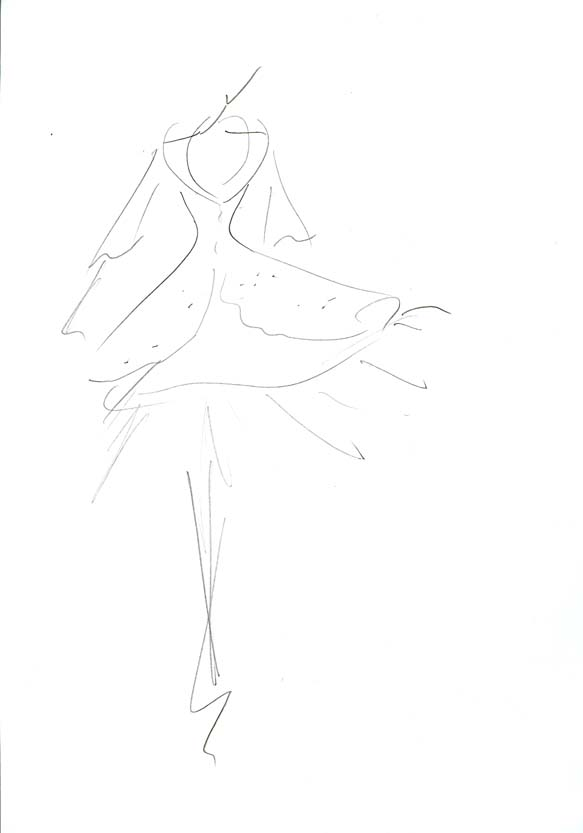 Drawing Dorien, short dress and petticoat