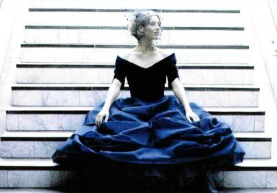 Avondjurk van fluweel en organza, model 'Belle du jour'