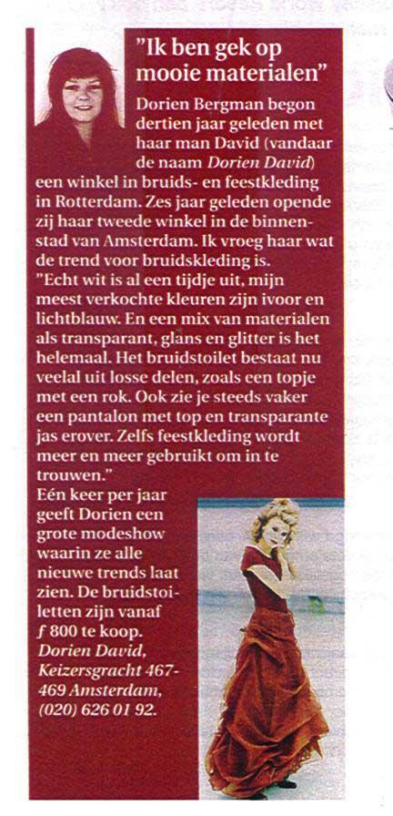 Ik ben gek op mooie materialen, Dorien in Margriet magazine