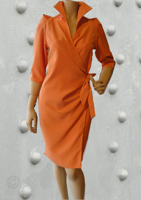 Wrap around dress orange