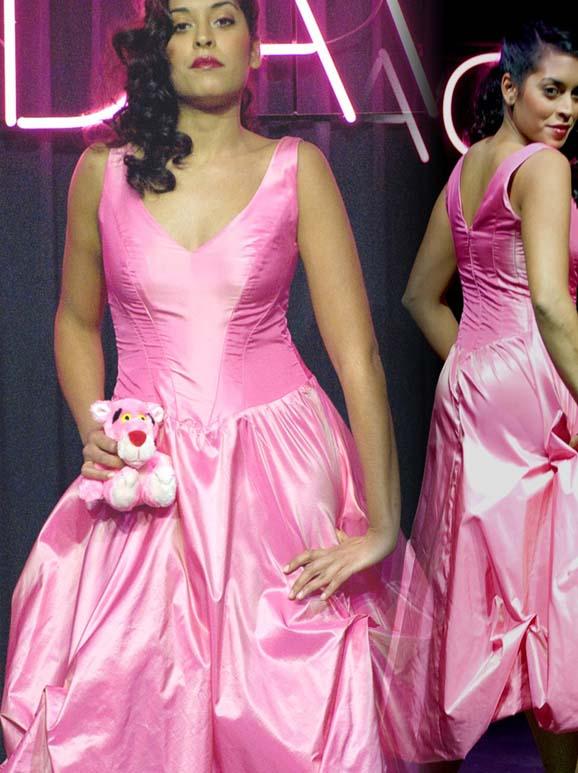 Pink dress of silk, called Pink Panther