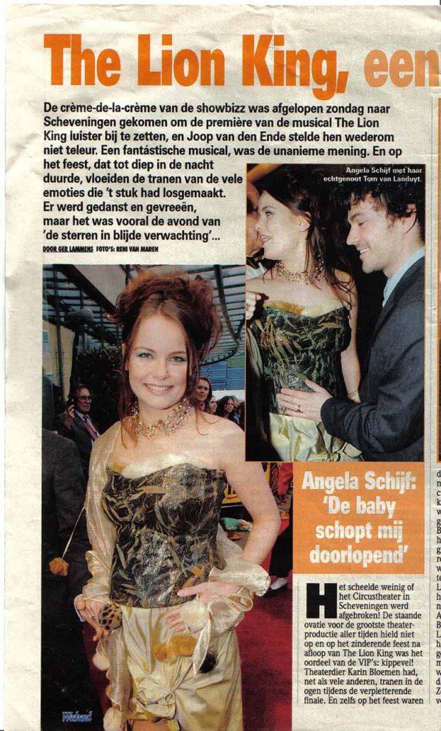 Angela Schijf bij Première Lion King in DORIENDAVID kleding