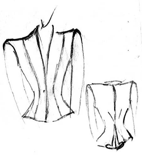 Design scratch of a jacket front and backside by DORIEN