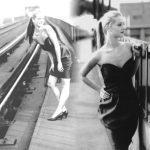 Strapless jurk, shoot op oude station Blaak Rotterdam