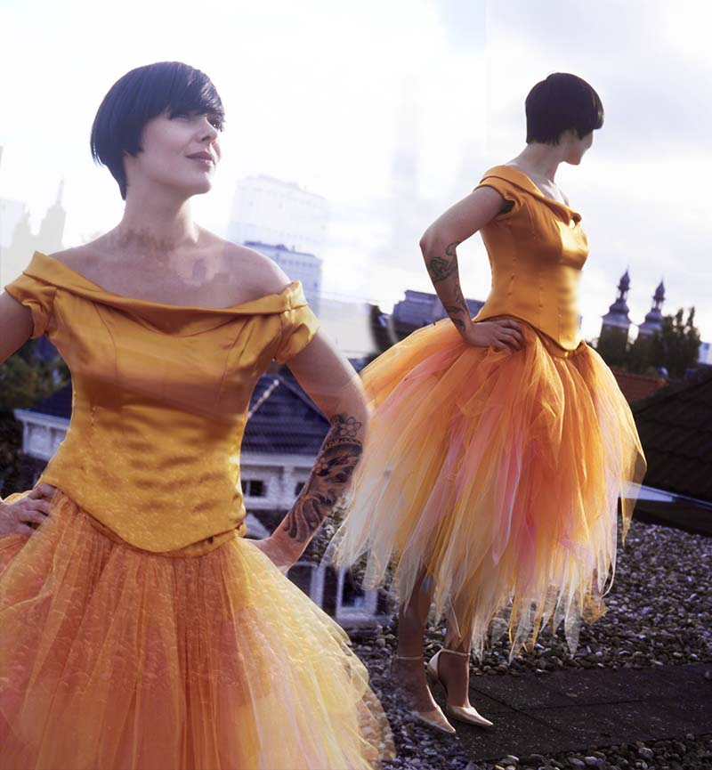 Top with orange petticoat