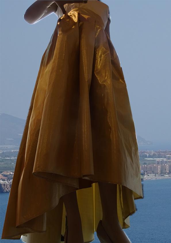 zijden wijde rok met plooien