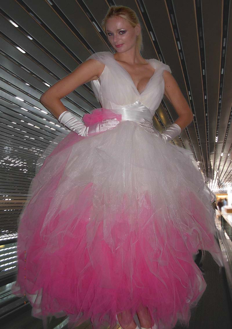 Dress with pink petticoat