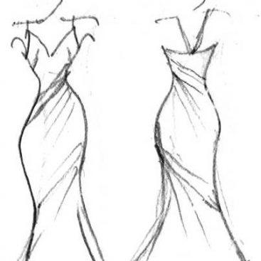 Scratch of a long gala or bridal dress by DORIEN