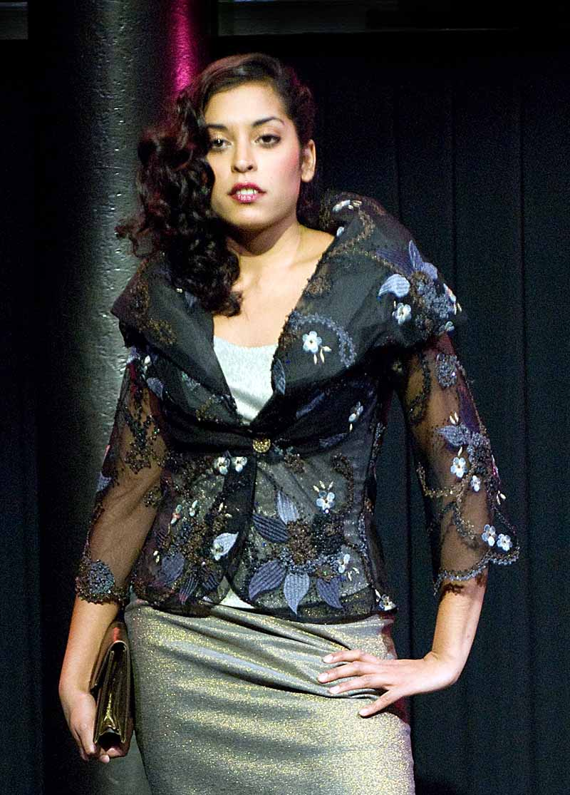 Jacket of blue-black couture lace